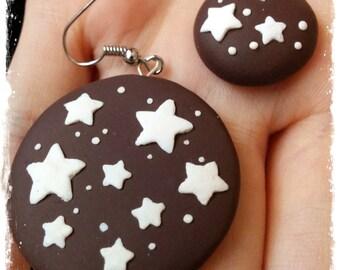"""Polymer Clay """"Pan di Stelle"""" cookies Earrings"""