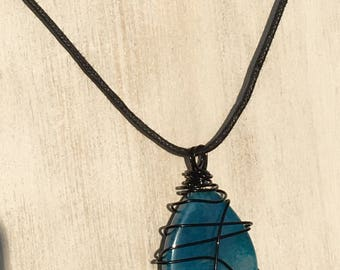 Black Wrapped Stone Necklace