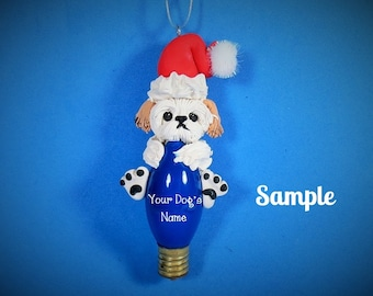 Tan and White Shih Tzu Santa Dog Christmas Holidays Light Bulb Ornament Sally's Bits of Clay OOAK PERSONALIZED FREE with dog's name