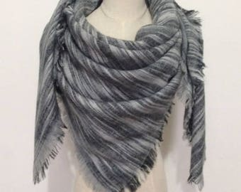 Black/Grey Brushed Blanket Scarf