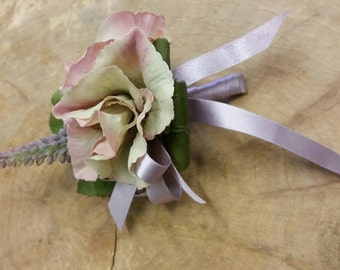 Wedding buttonhole/boutonnire - artificial hydrangea, lavander, foliage and satin.