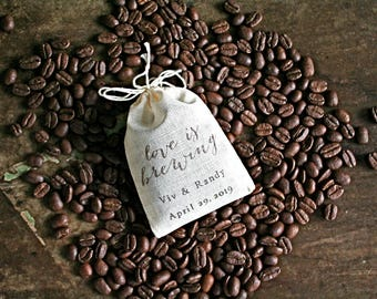 Wedding favor bags, set of 50 personalized coffee or tea favor bags, modern script Love is Brewing, bridal shower favors, hand stamped favor