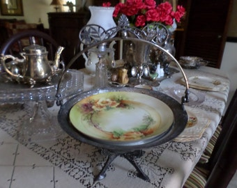 Victorian Silverplate/ Metal Brides Basket/Cake/Bakery-Handle/Pedestal-Ornate