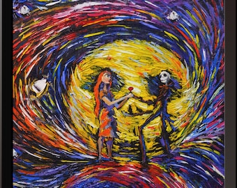 Vincent Van Gogh Starry Night Posters Jack Sally Jack and Sally Nightmare Before Christmas Canvas Wall Art Nursery Decor Wall Decor A020