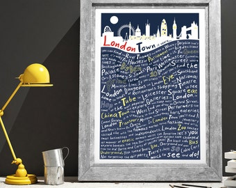 London skyline at Night Print