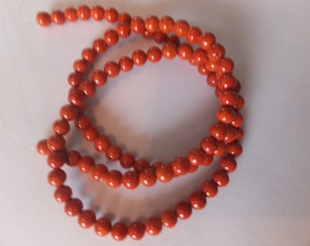 """16"""" Strand 4mm Orange Fossil Beads (approx 95 beads on strand)"""