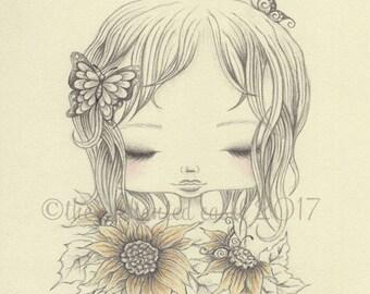 Sunflower Girl Drawing, Girls Wall Art, Summer, Butterflies, Nursery Art, Sunflowers, Girls Room, Graphite, Colored Pencil, Portrait, Pencil