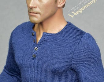 1/6th scale dark blue henley shirt inspired by Uncharted 4 Nathan Drake - for collectible action figures and male fashion dolls