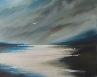 And then... The Moon, oil painting, painting on canvas, landscape painting, seascape painting, moon painting,