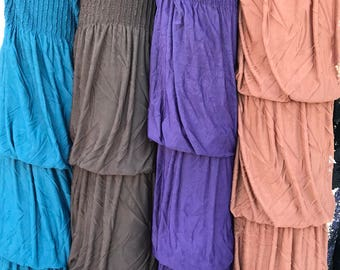 "3 Layer 7"" Ruffles Bubble Layer Fabrics / Sold by the Yard - Poly Spandex - Plum, Copper, Teal, Cream, Chocolate Brown, Fuchsia &more"