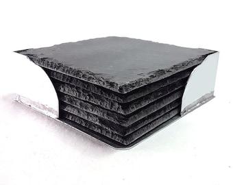 Slate coaster with zinc storage