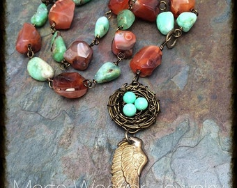 Bird Nest Gemstones With Wing Necklace with Carnelian & Chrysoprase, Free Shipping, Christmas, Birthday, Anniversary, Mother's Day Gift