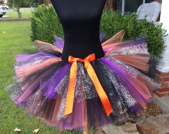 """Adult Halloween Tutu with a mix of colors in for waist 45 1/2 to 55 1/2"""" Perfect for Halloween Costumes & Adult cake sm"""