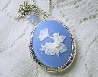 Woodland Fairy Locket - Butterfly Garden - Silver - Faerie - Wedgewood
