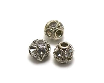"2 beautiful beads ""lantern"" and multiple rhinestones big hole 3 mm, white, silver"