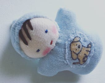 baby blue, Waldorf doll, sibling gift, for kids, stuffed toy, pocket doll
