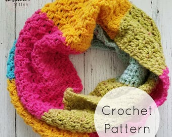 Quick and Easy Textured Caron Cake Infinity Scarf Crochet Pattern, PDF Digital Download