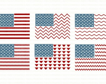 American flag SVG File 4th of July Cut File Cuttable Silhouette Cameo Cricut Design Space Scrapbooking Stencil Template Printable Clipart