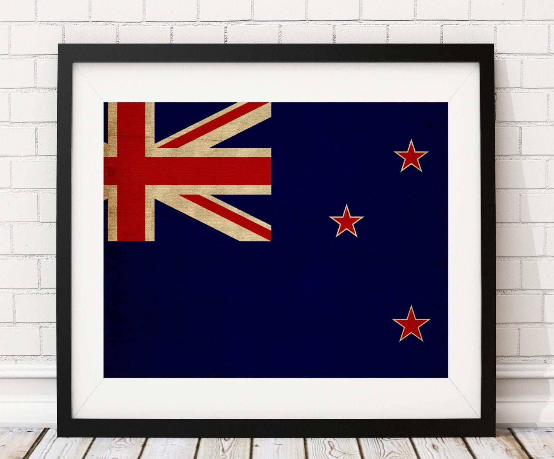 Neuseeland Flagge Art Neuseeland Flagge Druck Flagge Poster