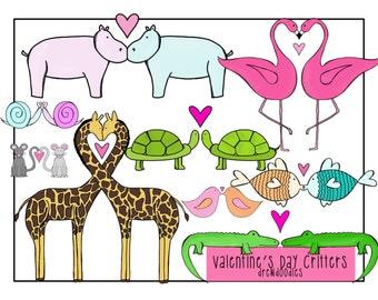Valentine's Day Critter Love Clip Art Set- Instant Download