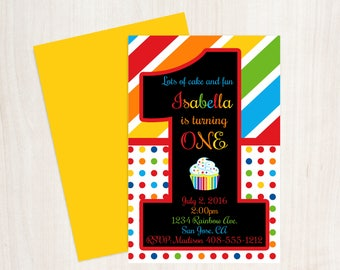 Rainbow Colorful 1st, Birthday Invitation, Rainbow, Rainbow Invitation, 1st Birthday Invite, Rainbow 1st Invite, First Birthday, 1st