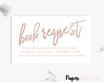 Books for Baby, Book Request, Bring a Book, Book Request Card, Books for Baby Card, Rose Gold, Printable, Instant Download