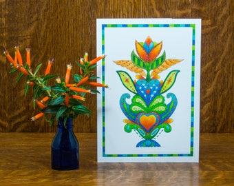 Blank flower card, Unique greeting card, handmade heart card, botanical gift card,folk art,flower illustration,watercolor print,Pennsylvania