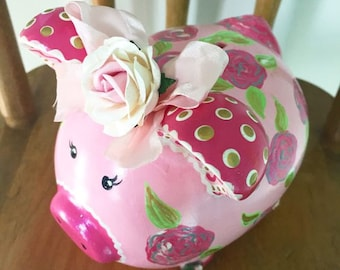 Personalized Piggy Bank, Rose Piggy Coin Bank, Ceramic Pink Piggy Bank with Roses.