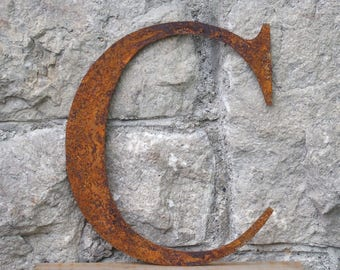 Flat Metal Rusty Letter C / Metal / Letter / Garden / Industrial / Vintage / Rustic / Floral / Gift / Wedding / Home / 25cm