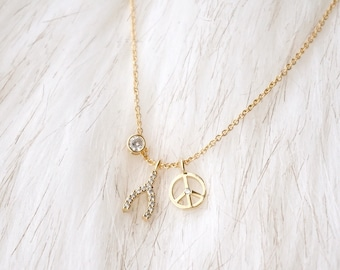 Peace + Wishbone Necklace   Crystal Charm Necklace   Good Luck Necklace   Peace Necklace   Charm Necklace   Pendant Necklace