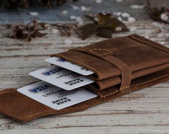 Minimalist Leather Wallet, Modern Wallet, Mens Leather Wallet, Leather Wallets, Gift for Him, Brown Leather Wallet, Personalized Wallet