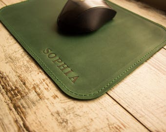Leather mouse pad Personalized mousepad Custom leather mousepad Engraved mousepad Customized mousepad 3rd anniversary gift Mouse mat
