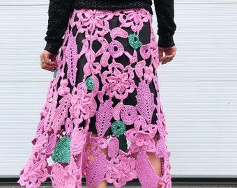 Handmade knitted bright skirt