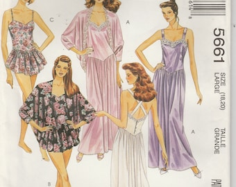 Nightgown Pattern Teddy Short Long Drop Waist Eveing Misses Size 18 - 20 uncut McCalls 5661