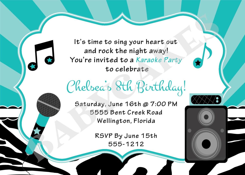 Karaoke party birthday invitation invite karaoke birthday zoom monicamarmolfo Image collections