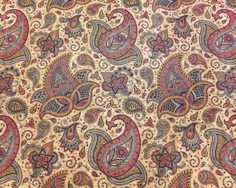 INDIAN PAISLEY Print Cork fabric (U.S.A Supplier) - Made in Portugal - Vegan - Sustainable - Leather Alternative - P.E.T.A. approved