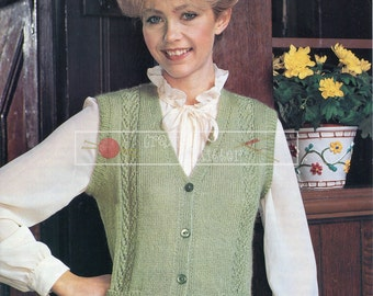 Lady's Lace Waistcoat DK 32-40in. Patons 1988 Vintage Knitting Pattern PDF instant download