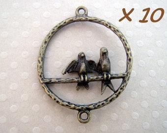 Set of 10 bird connectors bronze 27 x 33 mm - L178