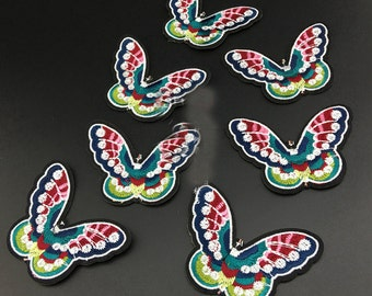 10pcs 7.5x5.5cm wide blue butterflies pocket embroidered appliques patches f4s3rg free ship