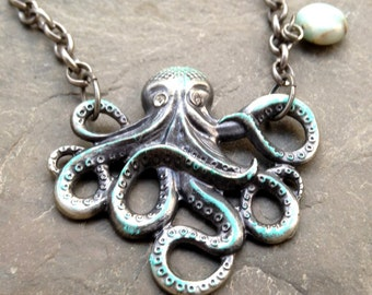 Large Gilded Octopus Necklace, Sea Agate Pendant, Statement piece, Beach Jewelry