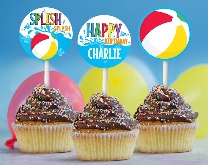 """Pool Party Cupcake Toppers - 2"""" Circle Tag, Pool Theme Decor, Gift Tag, Summer Birthday 