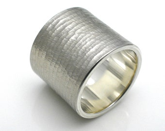 BANDRING/structure ring made of 925 silver, 20 mm wide