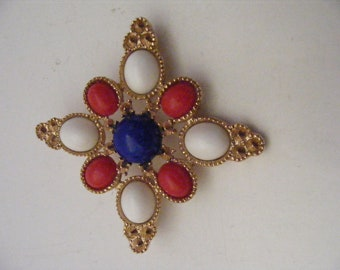 Vintage Sarah Coventry Red White Blue Patriotic Maltese Americana Brooch