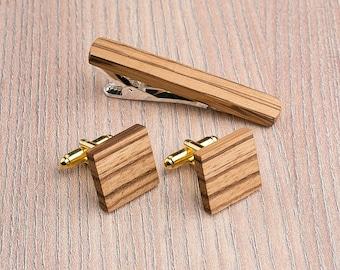 Wooden tie Clip Cufflinks Set Wedding Zebrano Square Cufflinks. Wood Tie Clip Cufflinks Set. Mens Wood Cuff Links, Groomsmen Cufflinks set.