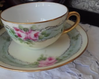 Austria Antique Porcelain Butter Yellow Teacup and Saucer,  Blue Ribbon, Pink Roses, Gold Handle,  Gold Trim, Unique Christmas Gift