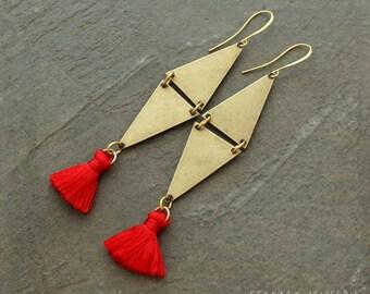 Silk Tassel Earrings - Boho Earrings - Orange Tassel Earrings - Triangle Earrings - Geometric Earrings - Bohemian Earrings - Tassle Earrings