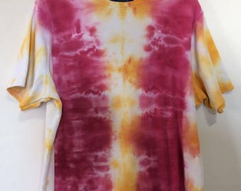 Womens 2X tie dye upcycle top. Karen Scott II cotton poly blend. Snow dye in shades of wine and gold.