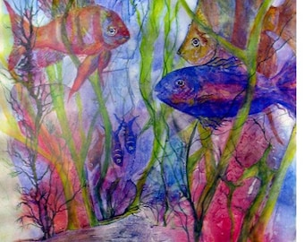Fine Art Giclee Print For Framing, Fish & Sea Life Swimming in The Sea and Coastal Ocean Waters Near Living Coral Reef  by Janet Dosenberry