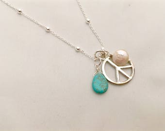 """Peace Symbol, Coin Pearl Charm Cluster Silver  with turquoise briolette 28"""" Necklace"""