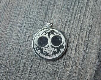 Vintage 1950's Brass Art Nouveau Medallion Pendants // Silver Necklace Pendant // Valentines Kitsch